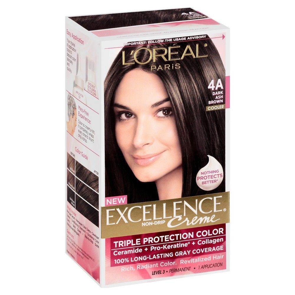 L Oreal Paris Excellence Non Drip Creme 4a Dark Ash Brown 1