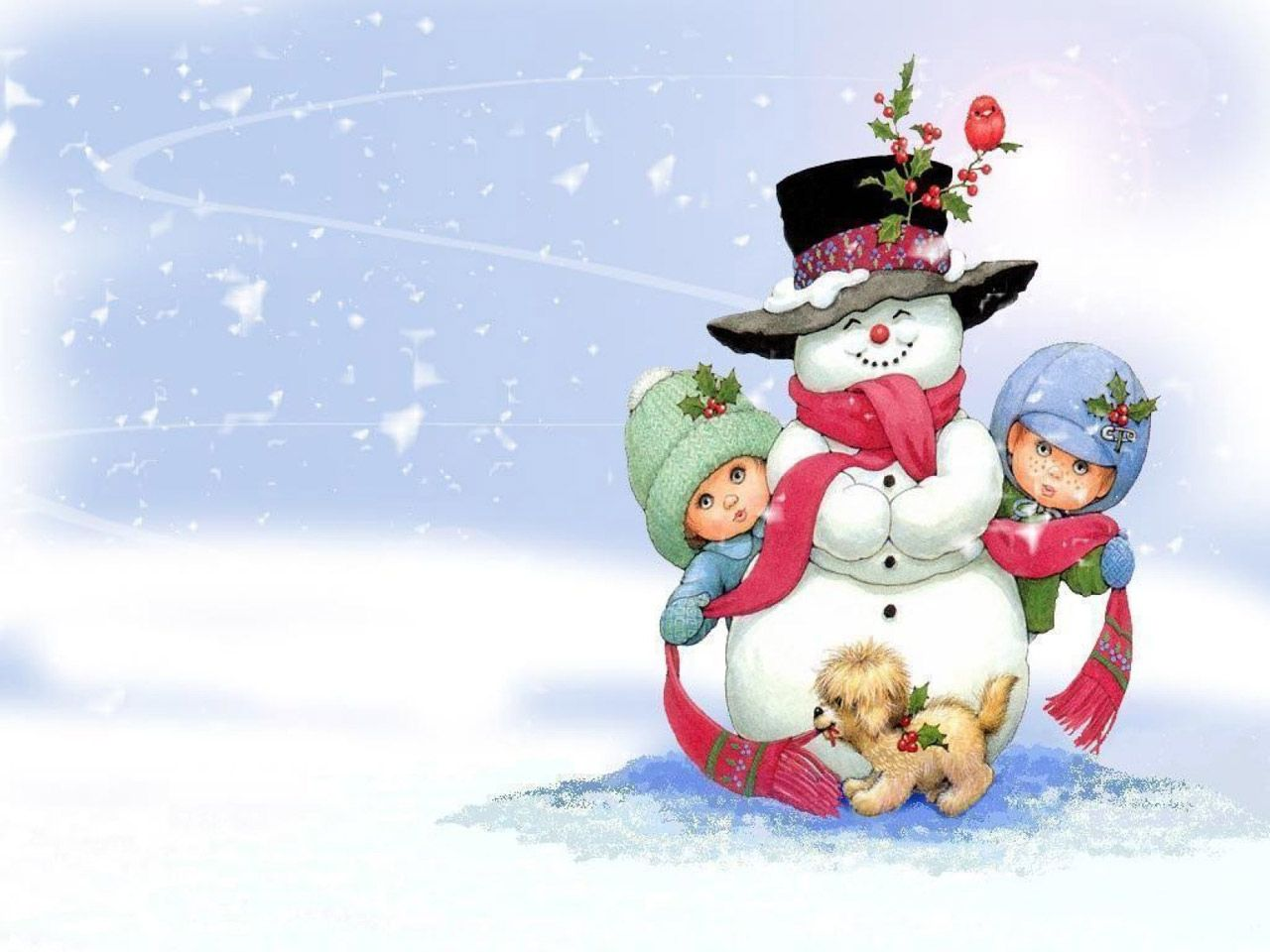 free snowman on christmas computer desktop wallpapers pictures images
