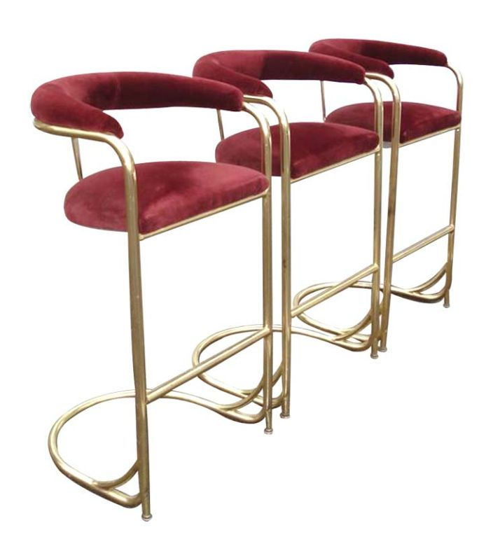 Set Of 3 Vintage Brass Bar Stools By Shelby Williams