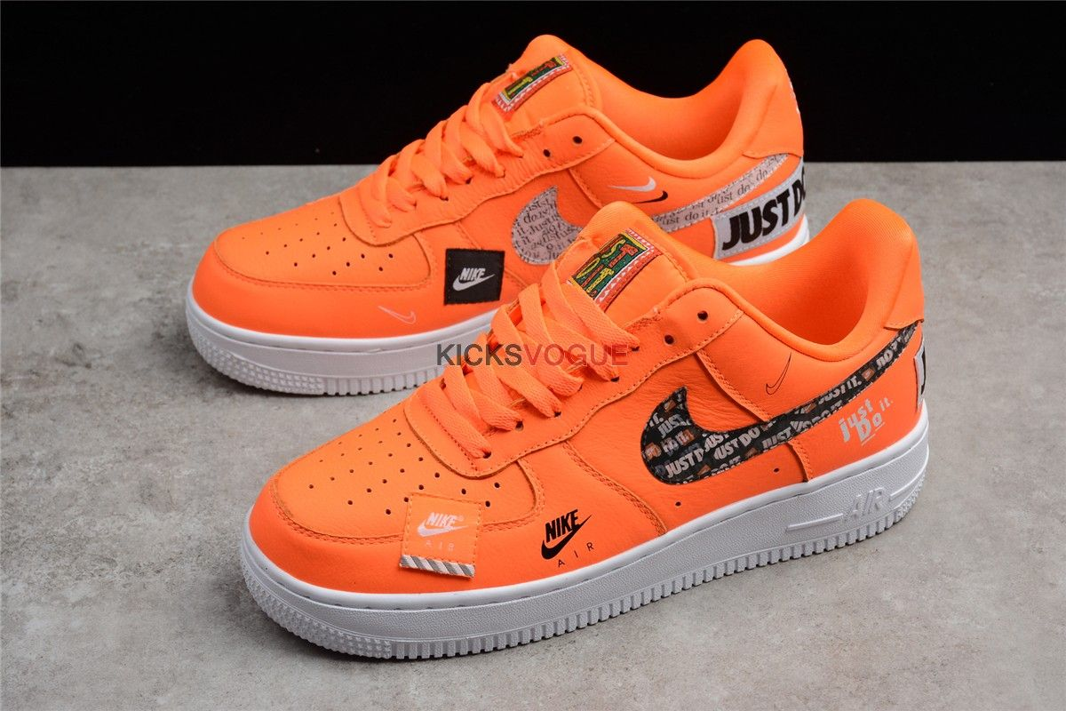 Nike Air Force 1 07 Prm Orange Just Do It Collection Nike Shoes Photo Black Nike Shoes Nike Air Force Ones