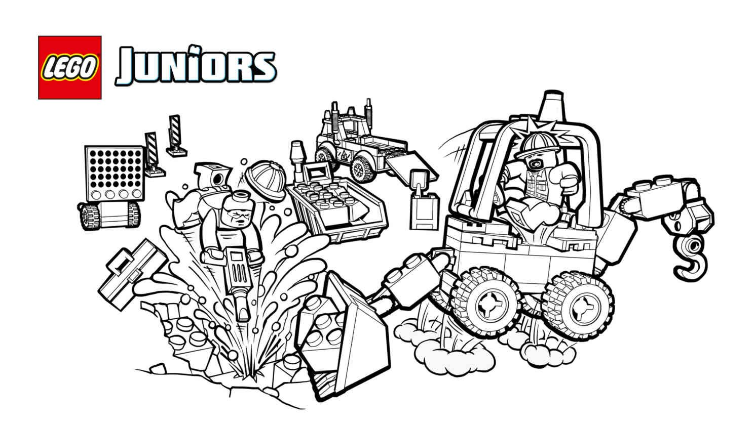 10683 Road Work Truck 2 Coloring Pages Activities Lego Juniors Lego Com Coloring Pages Lego Construction Lego Juniors