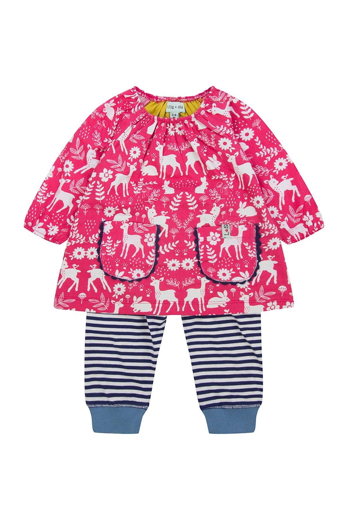 Lilly Sid Woodland Animals Dress & Striped Legging Set Baby Girls