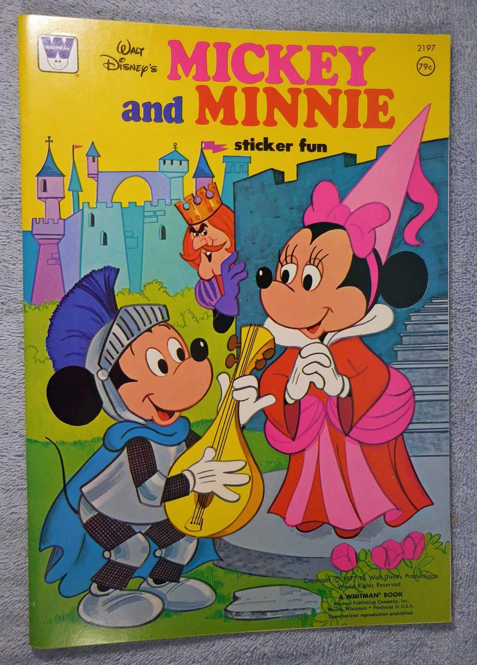 Walt Disneys Mickey And Minnie Sticker Fun Book Whitman Publishing 1977 From Disneyland Treasures Ebay Store