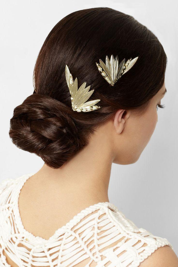 Apache Set Of Two Gold Hair Slides Rosantica Hair Accessories Gold Hair Pearl Hair