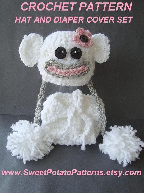 Spp38 Crochet Pattern Baby Snow Monkey Hat By Sweetpotatopatterns
