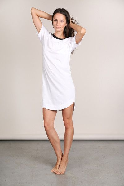 Black and white sleep dress - Easy, breezy two toned Pima Pocket Dress is the perfect every night (and day) option. Super soft Pima Cotton, comfy crew-neck pull-on fit, and flattering rounded scalloped hemline makes this even better than that borrowed oversized mens tee. Made for the modern woman with form and function in mind, we guarantee you'll want the Pima Pocket Dress in every color.