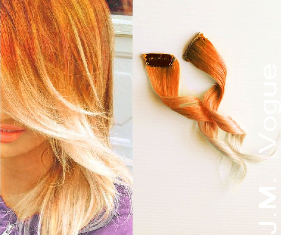 Orange Peel Full Head Set Clip in Ombre 100% Human Hair Extensions Dip Dyed Orange to Blonde ombre halloween fall hair