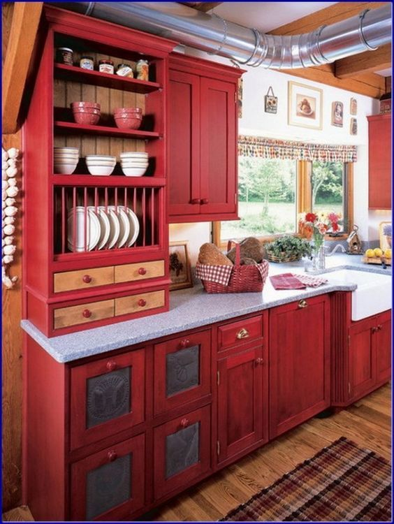 Perfect Red Country Kitchen Cabinet Design Ideas For Small Space