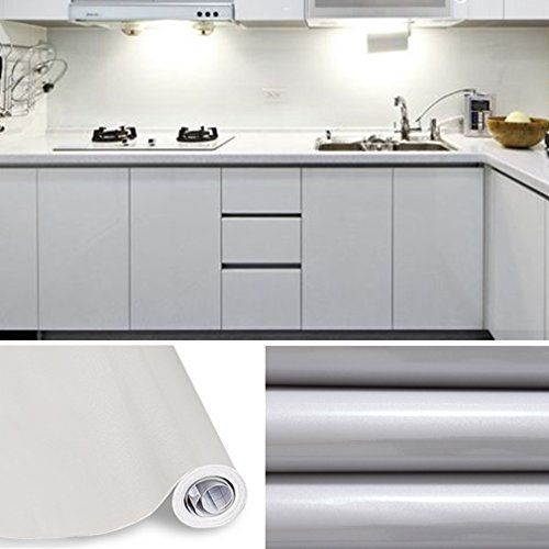 Kinlo 50 61m Papier Peint Auto Adhesif Gris Pour Armoire De Cuisine En Pvc Impermeable Style Moderne Sticke Porte Placard Cuisine Meuble Cuisine Adhesif Meuble