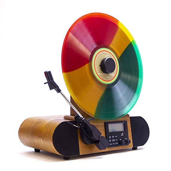Amazon Com  Fuse Vert Vertical Vinyl Record Player With Bluetooth  Fm Radio  Alarm