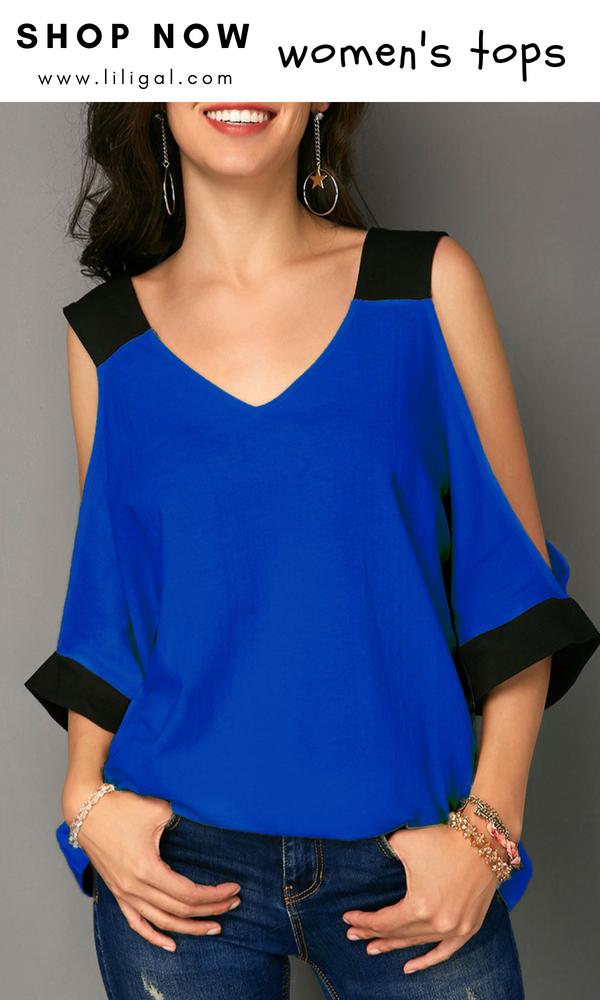 26faf2a266328 Royal Blue Cold Shoulder V Neck T Shirt  liligal  top  blouse  shirts   tshirt