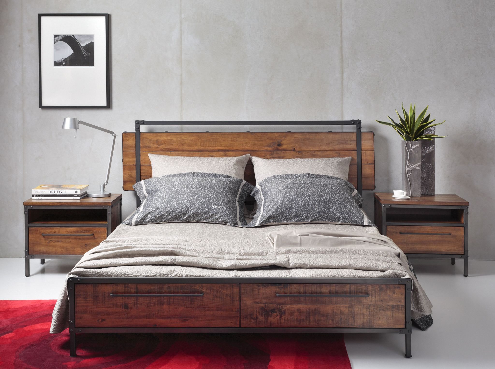 CHICAGO Solid Wood Queen Bed with Drawers Wood bed frame