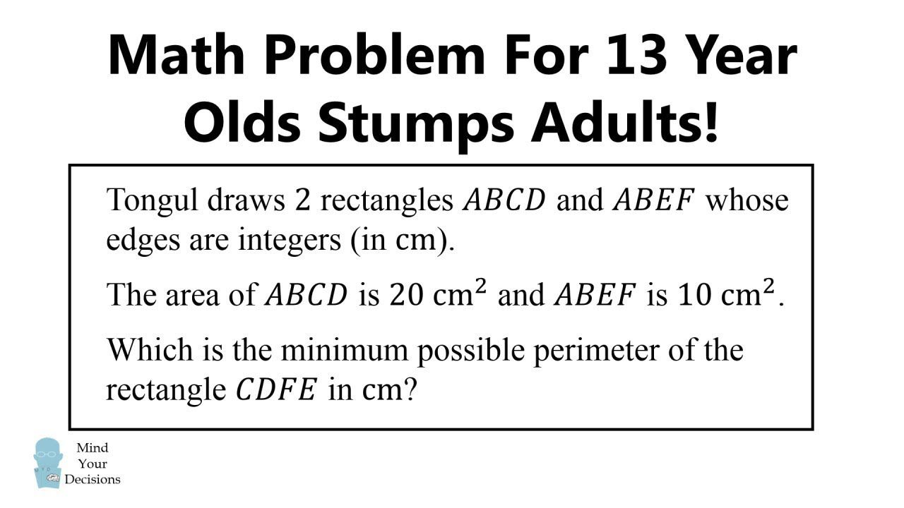 Problem For 13 Year Olds That Stumps Adults Math Genius Mental Math Tricks High School Math