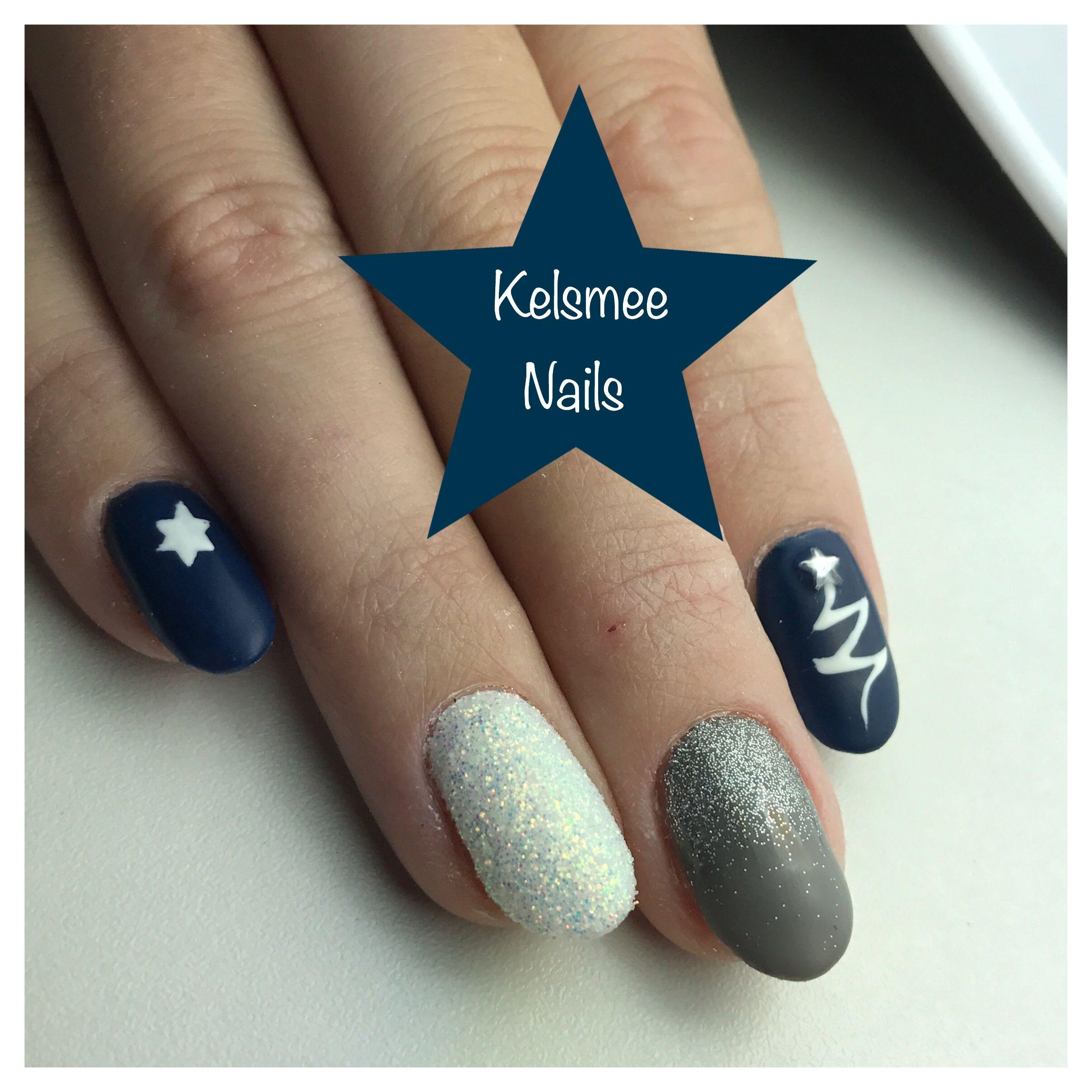 Christmas nails, Blue matte gelpolish Grey glitter and white sugar ...