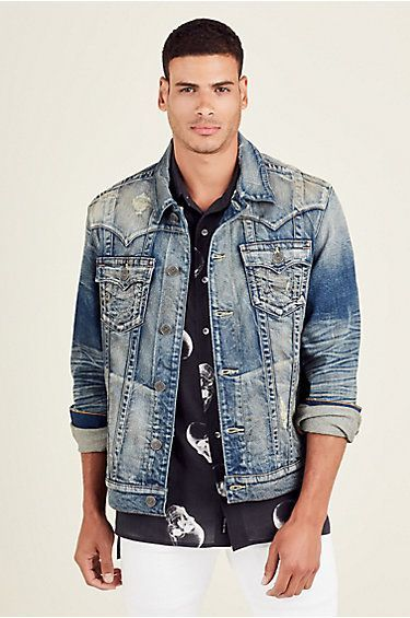 f548d34e8c35f True Religion Jimmy Mens Selvedge Denim Jacket   Denim jacket ...