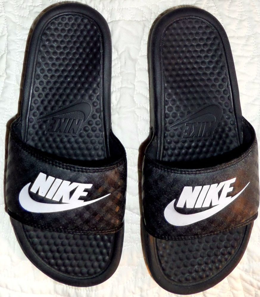 Nike 343881-011 Womens Benassi Jdi Slide Sandals Black White Size 6 Euc Nike Slides  -9192