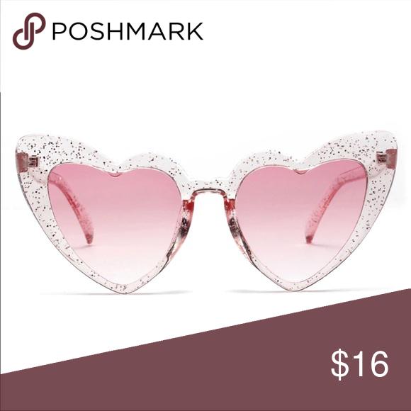 b49b621ebc Heart Clear Glitter Rose Tinted Pink Sunglasses Gorgeous Unique Heart  Shaped Sunglasses Lens Height  65 mm Lens Length  140 mm Lens Width  54 m  Nasal ...
