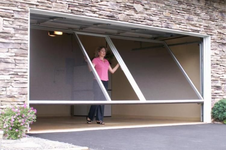 Rolling Mosquito Screen Attaches To Your Garage Door Track