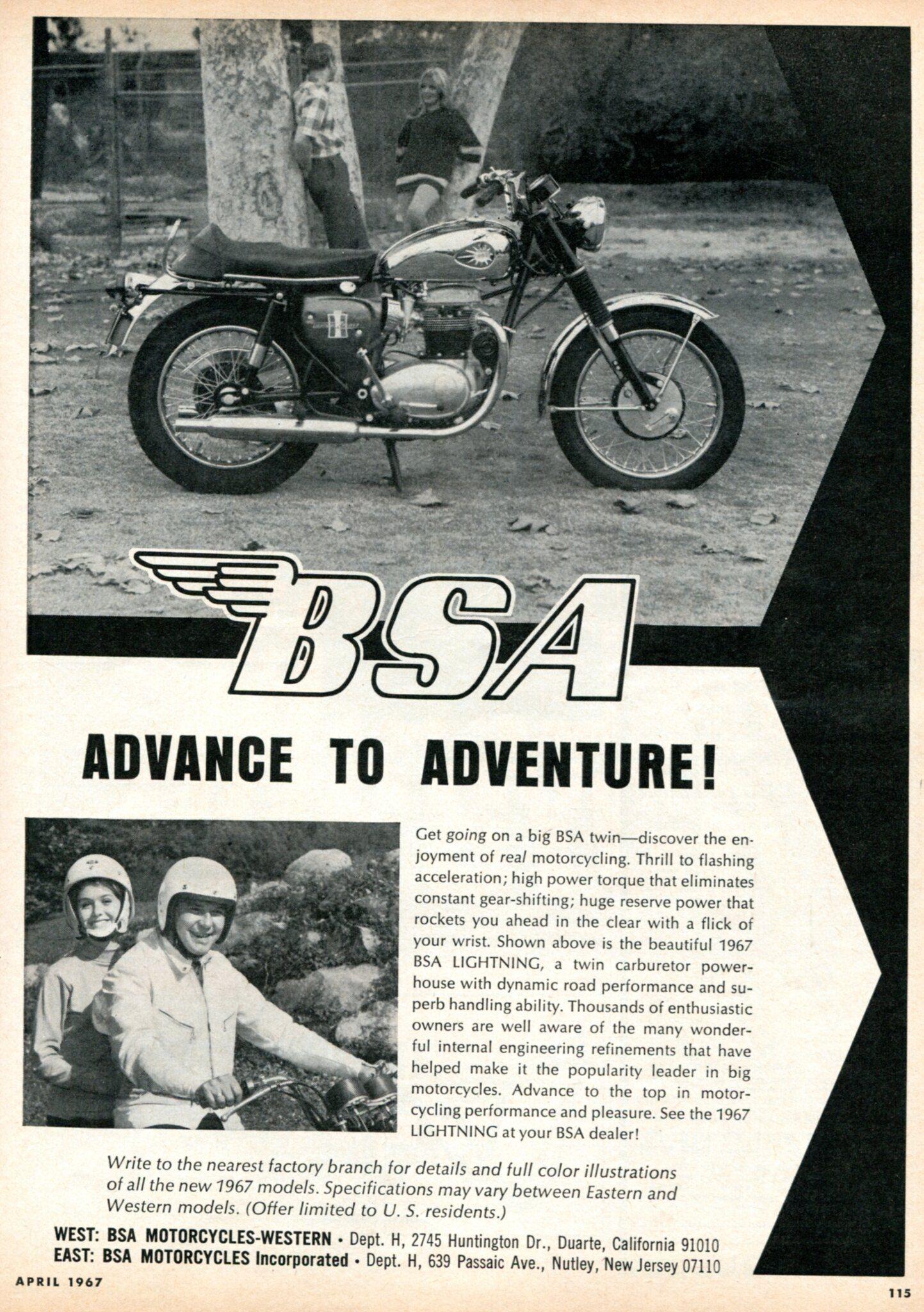 1967 Bsa Lightning Motorcycle Advertising Hot Rod Magazine April
