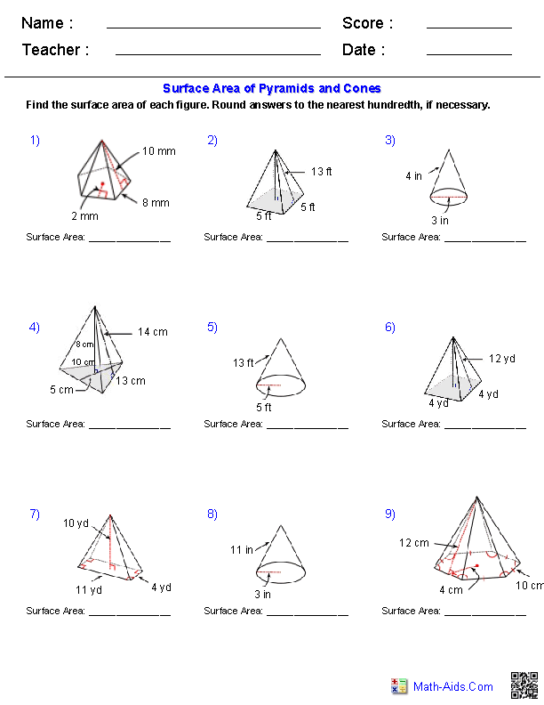 Pyramids and Cones Surface Area Worksheets | Math-Aids.Com ...