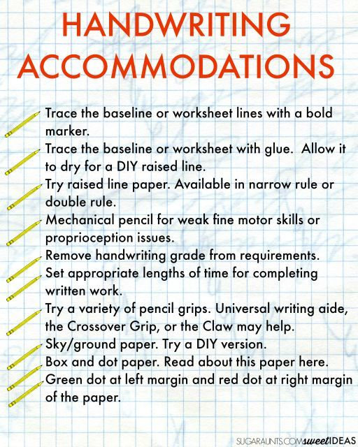 handwriting accommodations for the classroom handwriting occupational therapy and activities. Black Bedroom Furniture Sets. Home Design Ideas