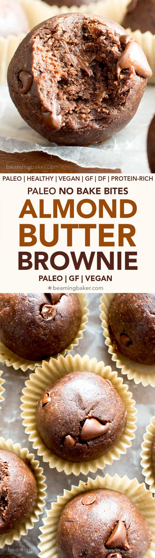 No Bake Almond Butter Paleo Brownie Bites V Gf Melt In Your