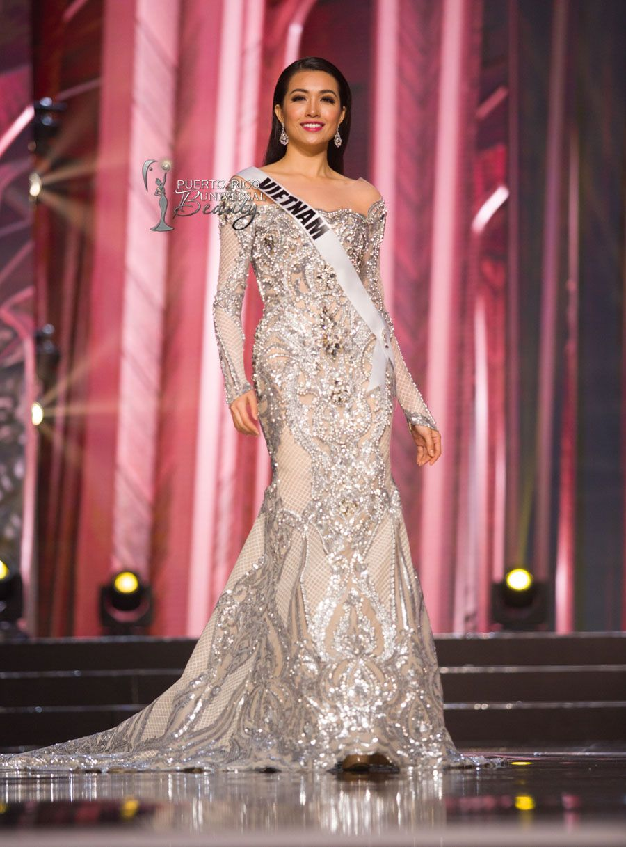 Le Hang, Miss Universe Vietnam 2016 competes on stage in her evening ...