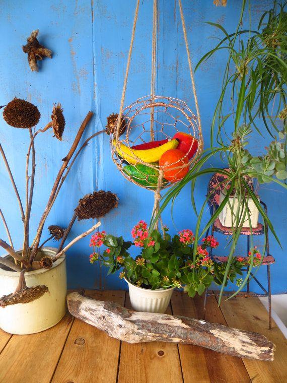 Hanging Basket, Copper, In Macrame Hanger | Pinterest | Hanger ...