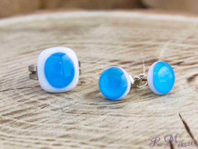 elfogadható árú kiváló minőségű nincs eladási adó Egy csepp kék gyűrű és fülbevaló üveg szett | R.M. ékszer szettek ...