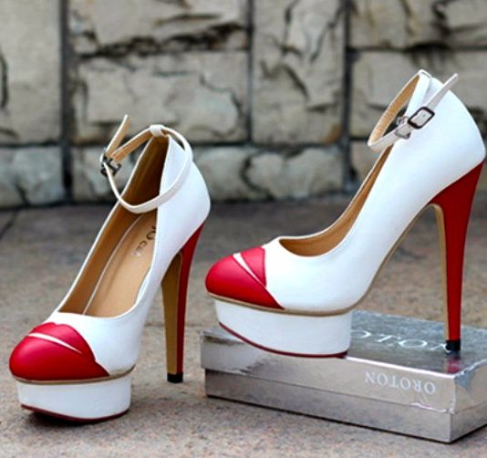 Hot Lips Design Red And White High Heel Shoes