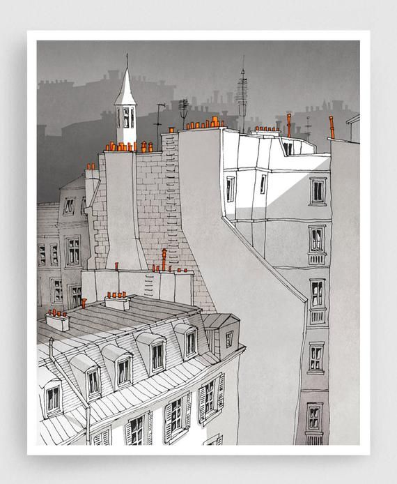 In an Old House In Paris grey version  Illustration Fine | Etsy
