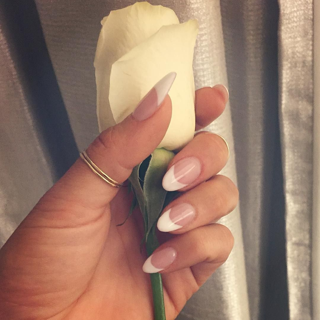 Fresh Almond Acrylic Nails French Long Tip