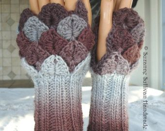 Fingerless Gloves, Winter Warmth, Crocodile stitch, Luxury Yarn
