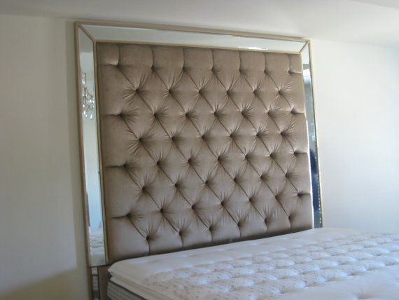 Tufted Headboard With Mirror Trim Por Items For On Etsy Living Room