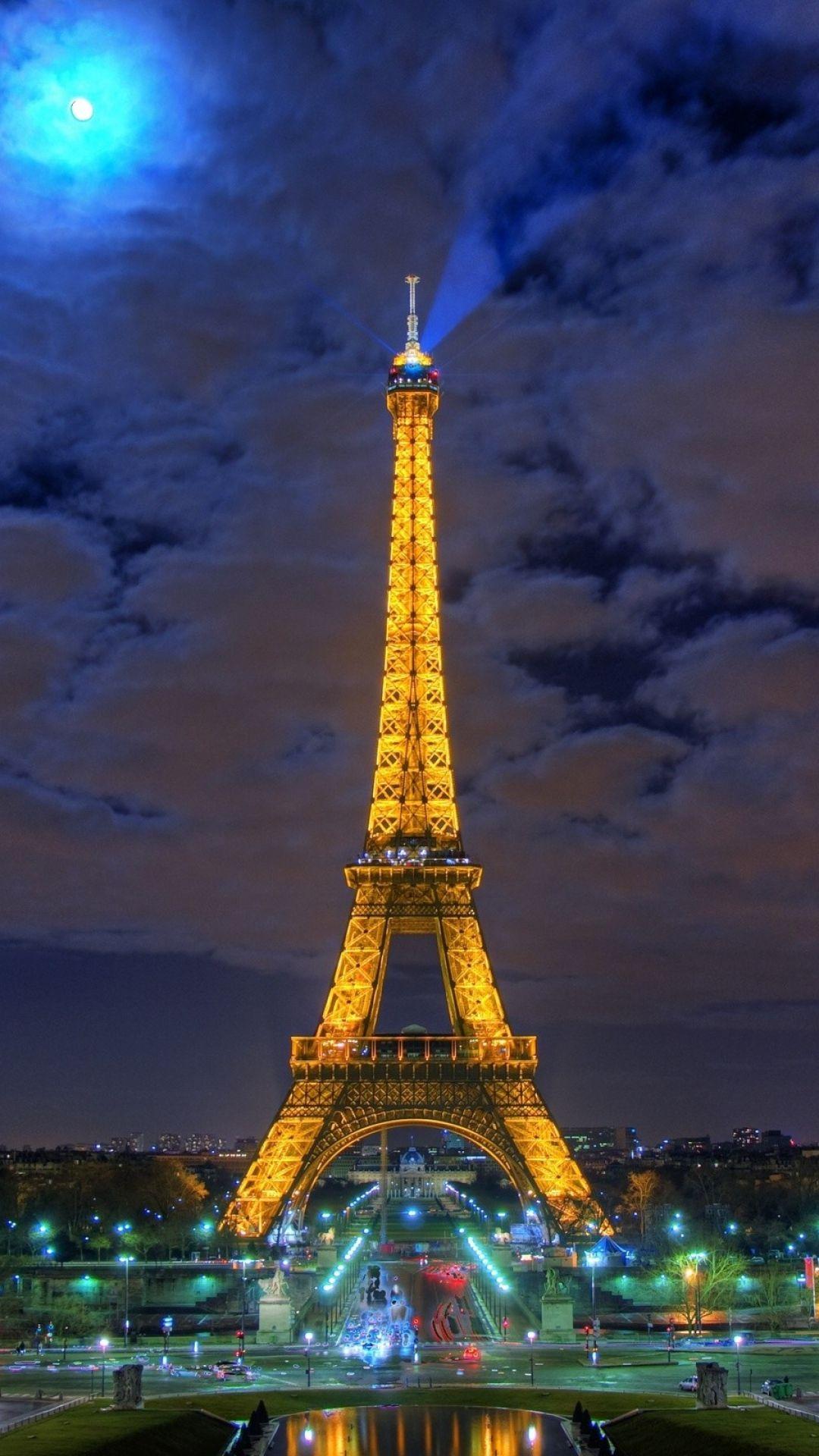 1080x1920 Wallpaper Eiffel Tower Paris France Night Hdr