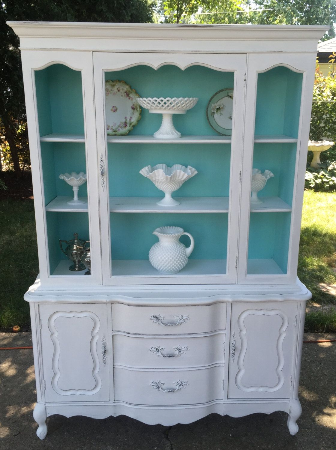 Beautiful Vintage Shabby Chic China Cabinet Cottage Style Storage Display Cabinet Hand Painted Chic Furniture Furniture Makeover Shabby Chic Furniture