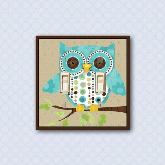 Owl Decor Switch Plate Cover Childrens Wall Art By Wallcakes 20 00