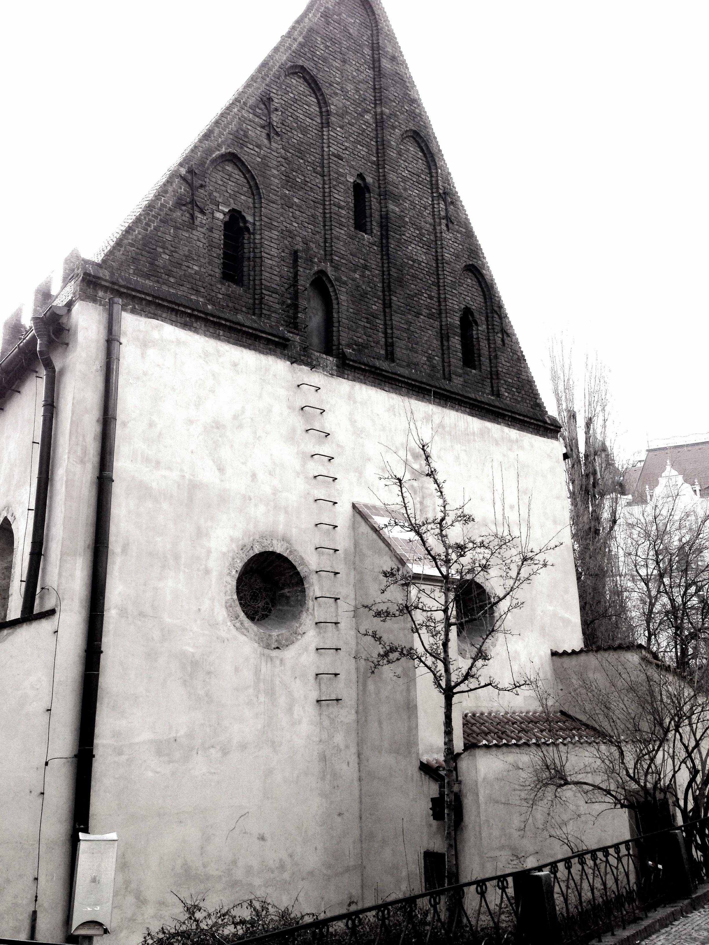 The Old New Synagogue - the attic is home of the Golem, they've removed the bottom 9 feet of the ladder to stop people from getting in.