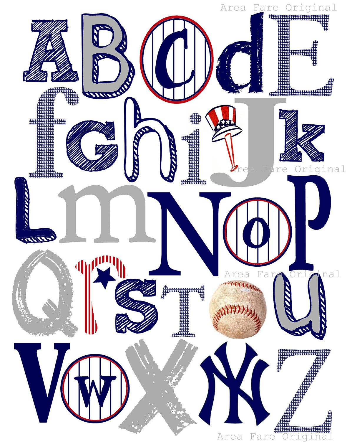 Ny Yankees Abc Nursery Art Print Etsy Abc Nursery Nursery Art Prints Yankees Nursery