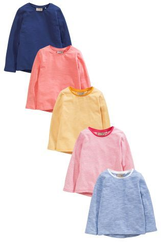 Buy Multi Bright Long Sleeve T-Shirts Five Pack (3mths-6yrs ...