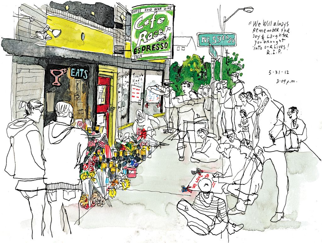 rip | sketch of memorial outside cafe racer, seattlegabriel
