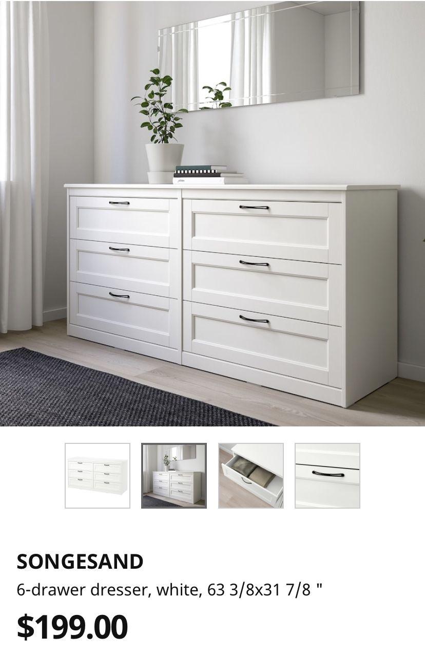 Songesand 6 Drawer Dresser White 63 3 8x31 7 8 Ikea White Dresser Bedroom Wardrobe Design Bedroom Cozy Room Decor [ 1271 x 828 Pixel ]