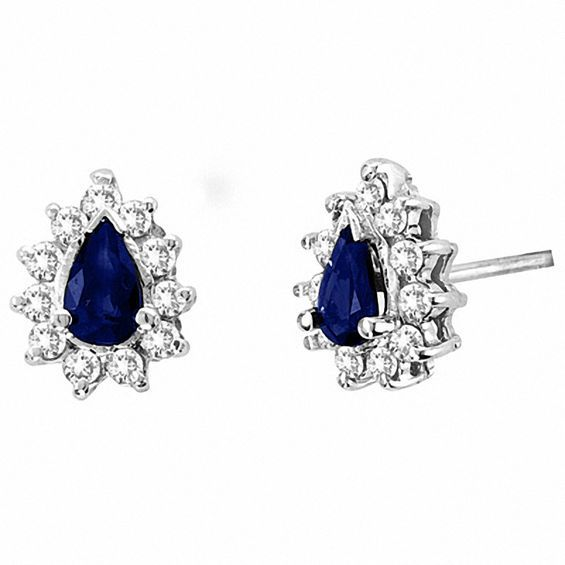 Pear Shaped Blue Sapphire And 1 4 Ct T W Diamond Earrings In 14k White Gold White Gold Blue Sapphire Sapphire