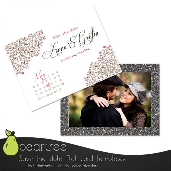 Save The Date PSD Template Floral scroll style Engagement Card - engagement card template