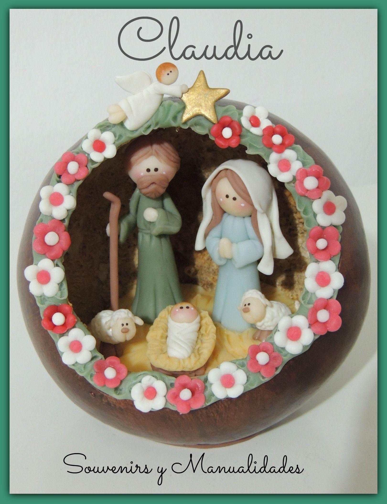 Pesebre en calabaza redonda for Manualidades souvenirs navidenos