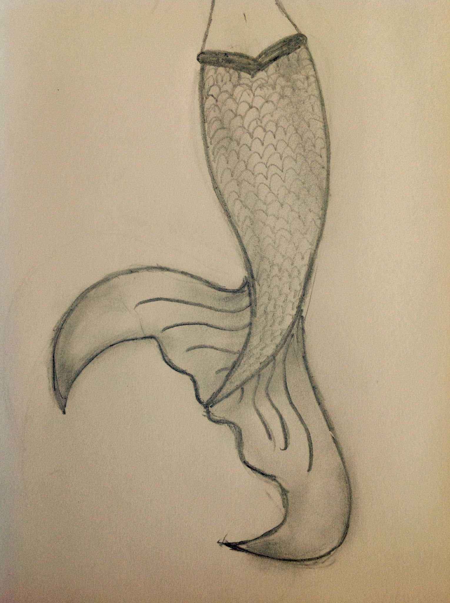a simple easy mermaid tail drawing that looks 10 times better with shading