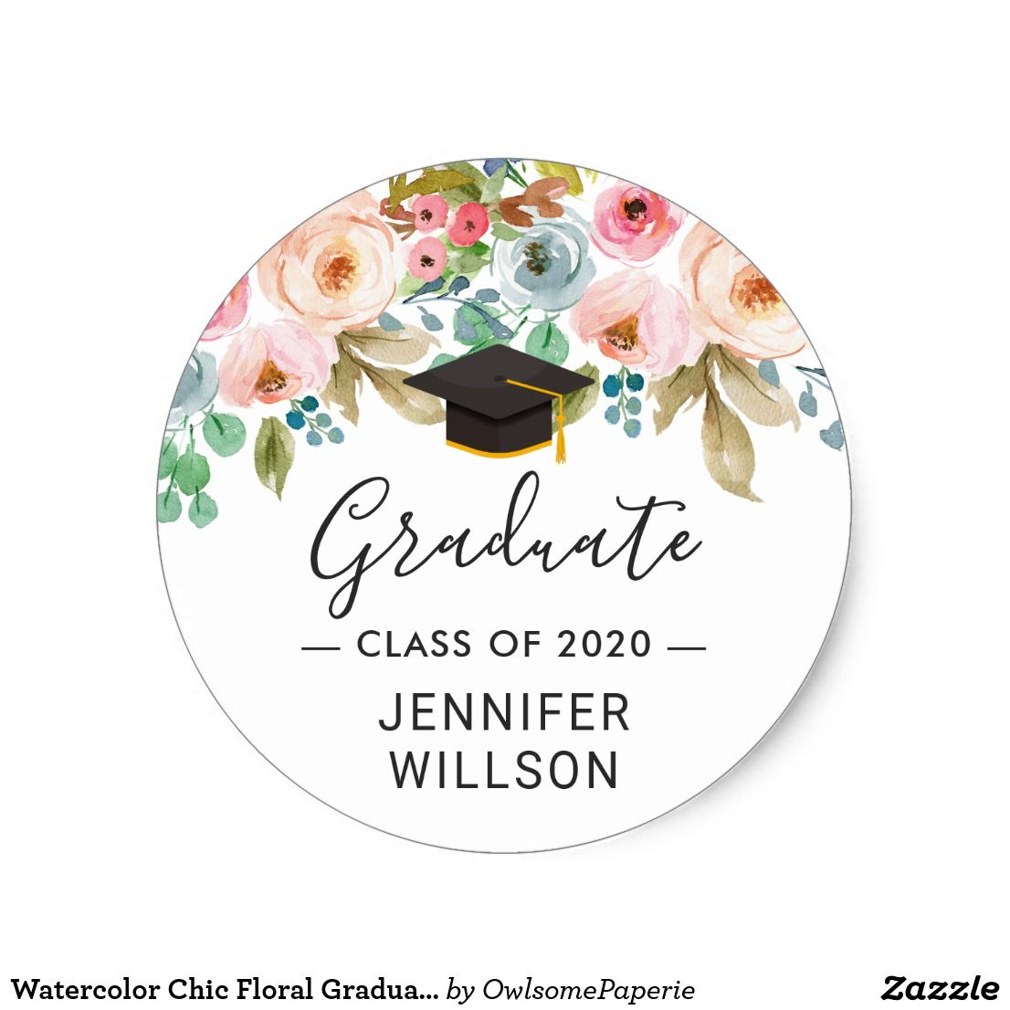 Photo of Watercolor Chic Floral Graduate Hat Graduation Classic Round Sticker | Zazzle.com