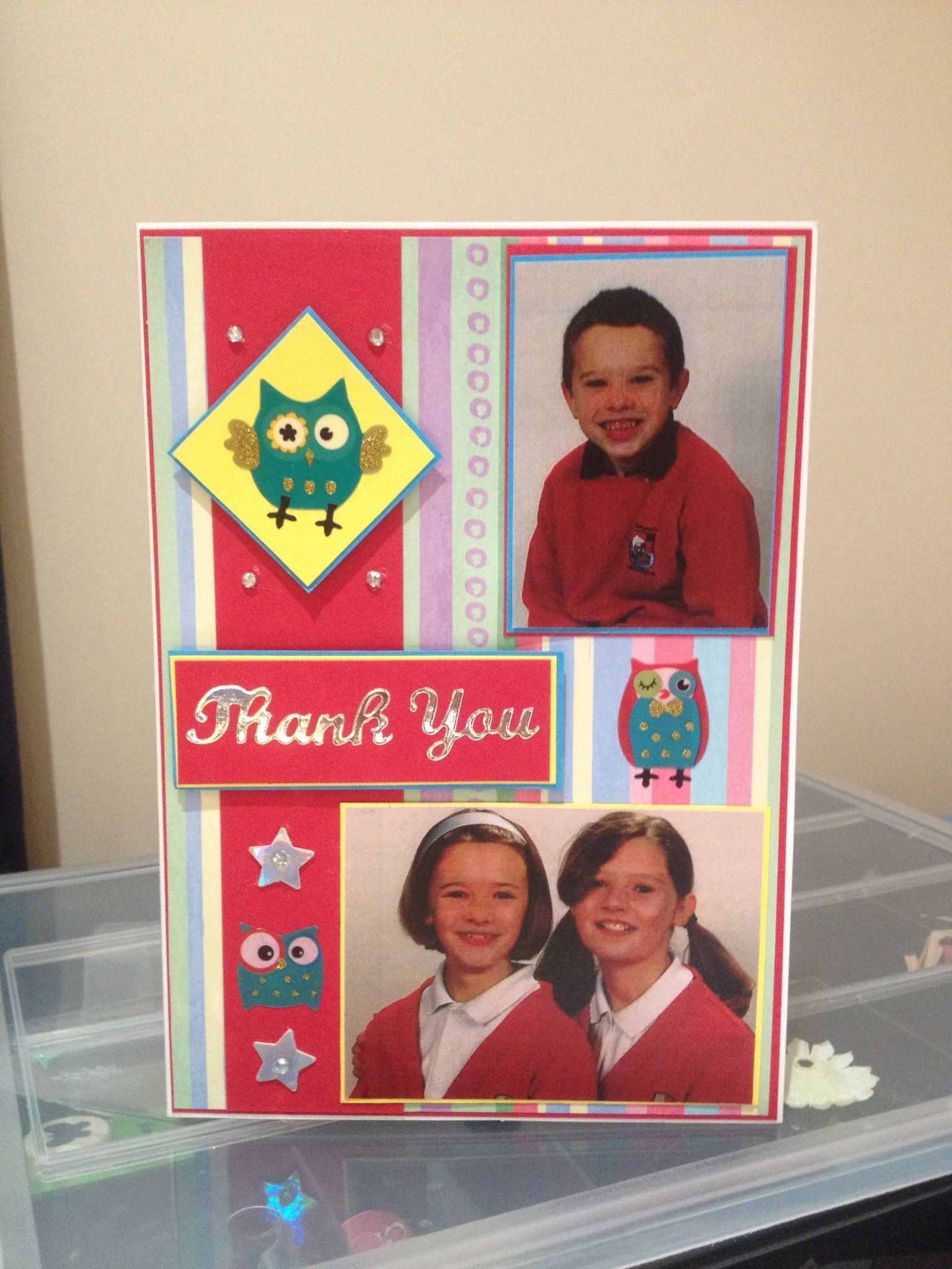 Personal thankyou card for school, with photos - By Bethany Looijenga
