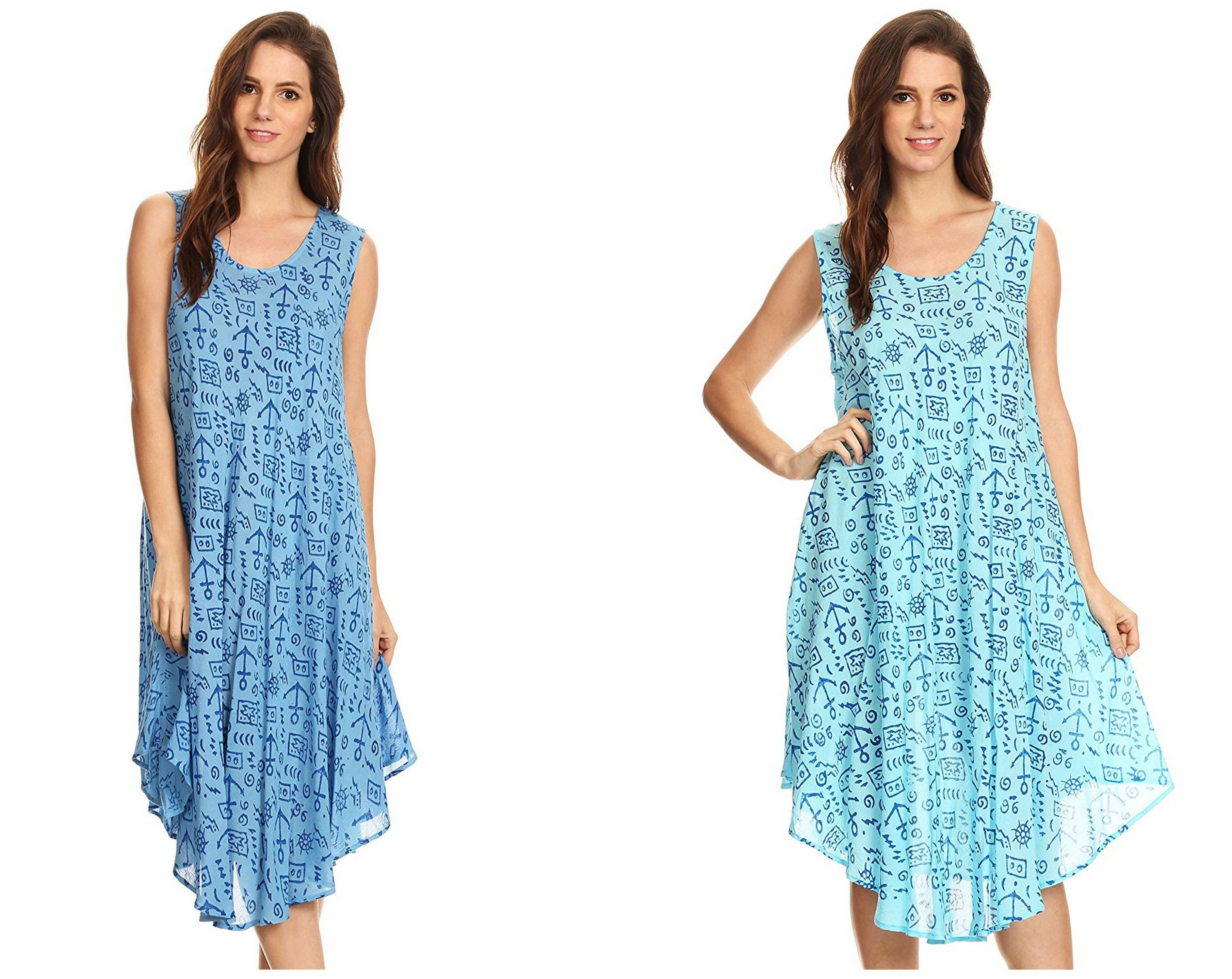 lightweight dress features a unique maritime print on opaque and breathable cotton. A loose and free circle hem creates an elegant drape. This dress incorporates a comfortable rounded scoop neck and a sleeveless tank design. Wear this dress to the beach or poolside, or dress it up with heels, leggings, white trousers, fedora, belt, and your favorite accessories for a casual summer party!