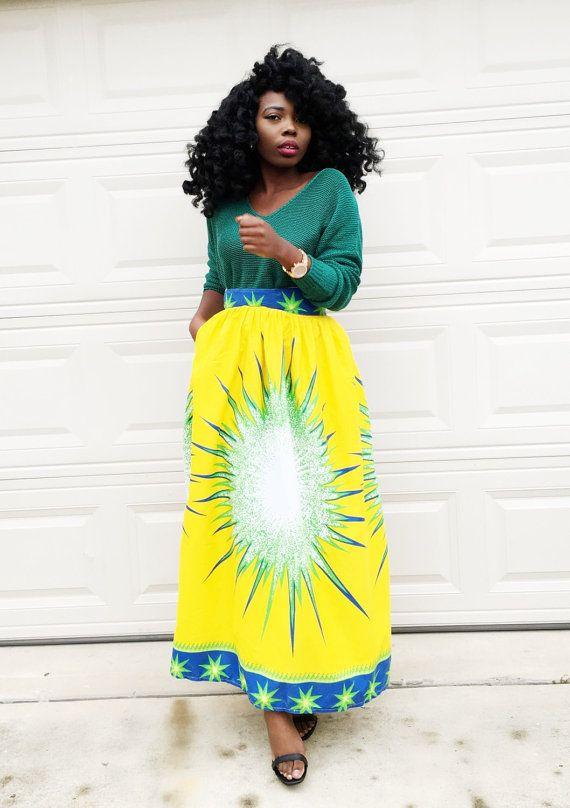 2fb1822b4c Maxi High Waist Skirt * High waist maxi skirt in a bold African fabric * maxi  skirt with two side pockets Length is 41 -42 Size Chart US 4 Waist